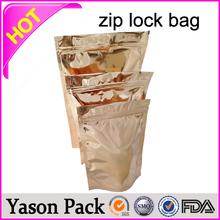 YASON food zipper pouch gold printing stand up waterproof freshful ziplock pouches drug envelope zip locked