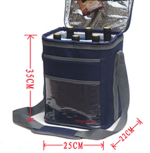 15L Wine/beer Thicked Navy insulated cooler bag on car picnic storage bag waterproof Aluminum liner inside