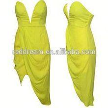 Sexy club wear women clothing yellow celebrity bandage dress usa wholesale
