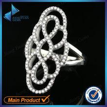 luxury finger 925 silver zirconia stones flower rings