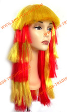 Hot sale cheap afro football fan wigs double sided tape synthetic hair extension