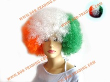 cheap football fans wig,party wig,crazy wig curly synthetic wigs