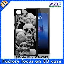 3D horrible skull Lenticular cell phone cases foe MIUI 3,for xiaomi redmi custom printed case