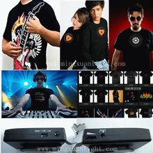 Novelty music party active 100% cotton led light t-shirt