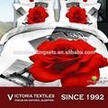 Vermelho floral impresso 3d 100% algodão comforter fundamento lençóis conjunto novo
