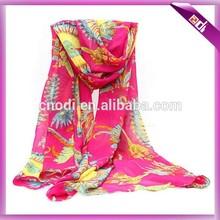 Chiffon feather print scarf