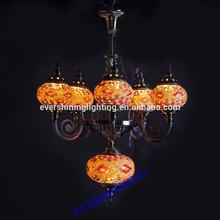 2015 New Design 5 Glass Handmade Mosaic Craft Turkish Chandelier Antique Pendant Light YMA419-5