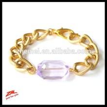Arm Candy Translucent Purple Plastic Gem Bracelet Chunky Textured Gold Curb Chain Bracelet Jewel Arm Candy Chunky bracelet