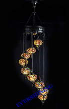 2015 NEW ISTANBUL DESIGN 9 GLASS MOSAIC CRAFT TURKISH HANGING LAMPS YMA41309