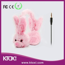 cute kids animal headphone headset with retractable cable and microphone