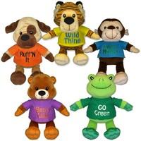 20cm beautiful promotional customized soft stuffed plush dog/tiger/monkey/bear/frog animal group with printed T-shirt