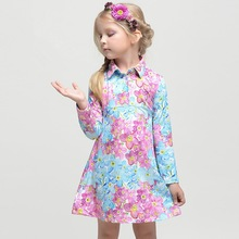 2014-201 wholesale fashion children spring child clothes kids clothing Girl Europe hot retro cute Lapel floral cotton lace dress