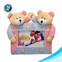 Latest design christmas gift plush stuffed soft couple teddy bear cute baby 12 month photo frame