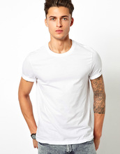 Men 100% plain white organic cotton t-shirt