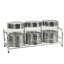 Set 3 Mat-Shinning Stainlesss Steel Letter Coated Glass Food Storage Jar with Metal Stand