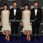 2015 Golden Globe Award Amelia Warner Scoop Neckline Ankle Length Celebrity White Feather Cocktail Dress