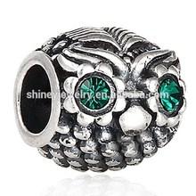925 sterling silver animal owl pave emerald antique charm bracelet 2015