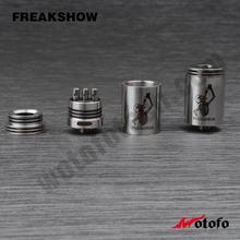 Freakshow V2 RDA 22mm atomzier black/white/ss/copper freakshow v2 Wholesale mehcanical carbon fiber white Black copper blue