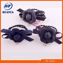 Woolen Camellia Durable Mixed Color Bow Hair Ring
