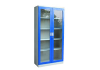 Steel Floor Locker Double Glass Door Storage Box