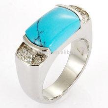 fashion jewelry blue turquoise stone engagement couple rings