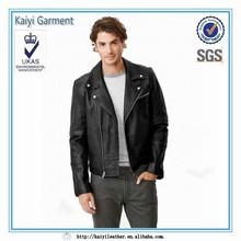 China garment market black plus size men leather jacket bikers wear