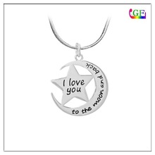 Reversible initial to the Moon And Back star pendant Necklace