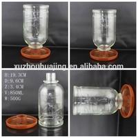 850ml glass bottle of bird feeder with plastic pallet glass bird feeding apparatus wholesale
