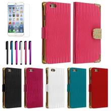 C1629 Bling Belt Animal Skin Leather Wallet Case+LCD Film+Pen For iPhone 6 4.7 Case
