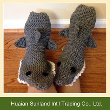 W-1006 crochet anti slip animal socks knitting floor indoor shark slipper socks