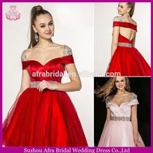 SD477 ladies party dresses off shoulder open back cocktail short red prom dresses