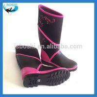 2015 hotest Red woman wear fashionable 5mm neoprene rubber boots waterproof rain boots warm keep shoes
