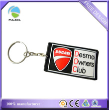 small quantity Italy motorcycle Challenge club logo soft pvc rubber keyring
