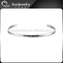 "Stainless Steel Hand Stamped Jewelry,Custom Hand Stamped ""HAKUNA MATATA"" Bangle Bracelet Jewelry"