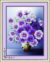Hand embroidery cross stitch kit with flowers design for home decoration