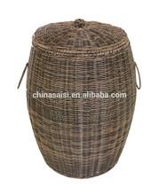 Handmade woven rattan plastic laundry basket with handle hotsale