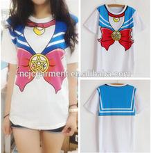 Wholesale clothing! 2015 new Hot Sailor moon harajuku girl's t shirt ,cheap price high quality t shirt