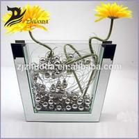 Simple design trapezia glass mosaic mirror vase