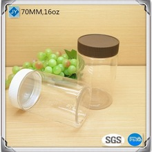 70mm 16oz large plastic jars food grade container with lids for cosmetic products , nutella, food