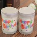 feliz aniversário artesanal vela perfumada em vidro fosco branco jar
