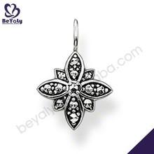 Testimonials black cz flower design silver arrowhead charm