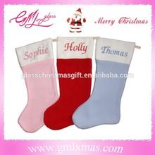 beautiful design X'mas items stockings, handmade xmas plush stockings, popular xmas plush stockings