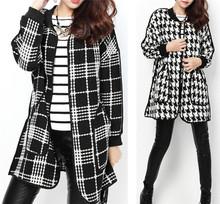 2015 stylish plaid loose average size coat open stitch coat long trench women casual coat