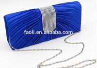 Wedding Clutch 2015 Silk Cloth Royal Blue Evening Bag with Rhinestone