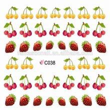 Nail Art Tip Water Transfers Decal Sticker Fresh Strawberry Cherry