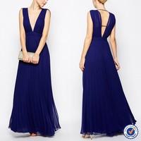 women clothing factory deep v neck crinkle long chiffon prom dress