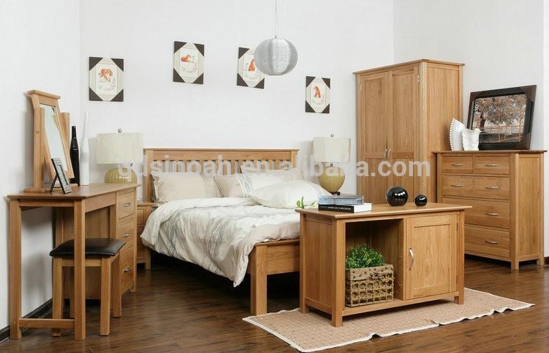 wholesale oak furniture natural solid wood wooden bedroom furniture