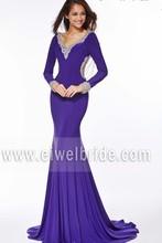 Elegant See Through Back Beaded Long Sleeve Mermaid Evening Dress ang064