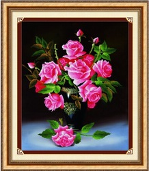 Diy craft 3d cross stitch with beautiful flowers for wall decoration