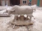 hand carved limestone buffalo statue
